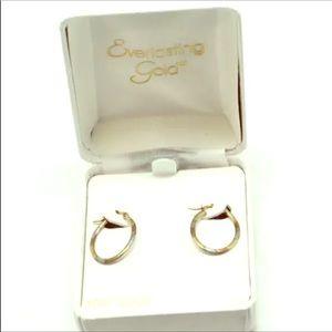 10K Gold Oval Leverback child Hoop Earrings